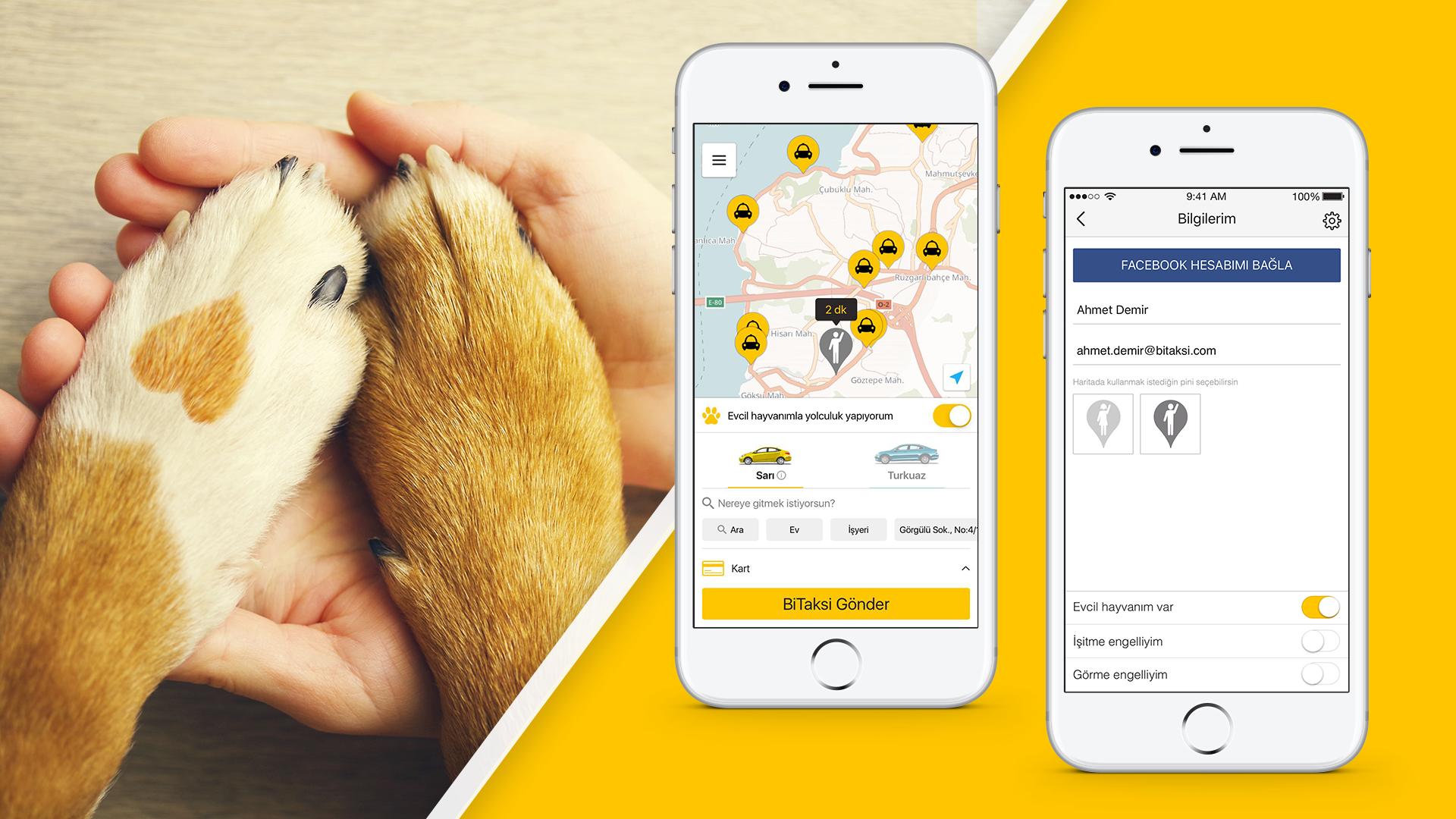 Yolcuları ve taksi sürücülerini buluşturan akıllı telefon uygulaması BiTaksi, kullanıcılarına evcil hayvanlarıyla birlikte rahatça yolculuk etme fırsatı sunuyor.