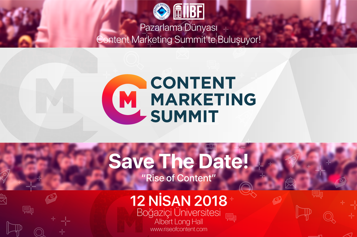 Boğaziçi Üniversitesi İktisadi ve İdari Bilimler Fakültesi tarafından düzenlenecek Content Marketing Summit, 12 Nisan'da Albert Long Hall'de iş dünyası profesyonelleriyle sektörün ileri gelenlerini buluşturacak.
