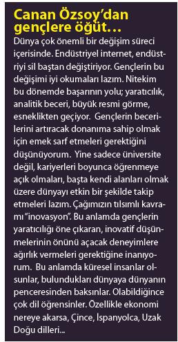 Canan Özsoy'dan gençlere öğüt