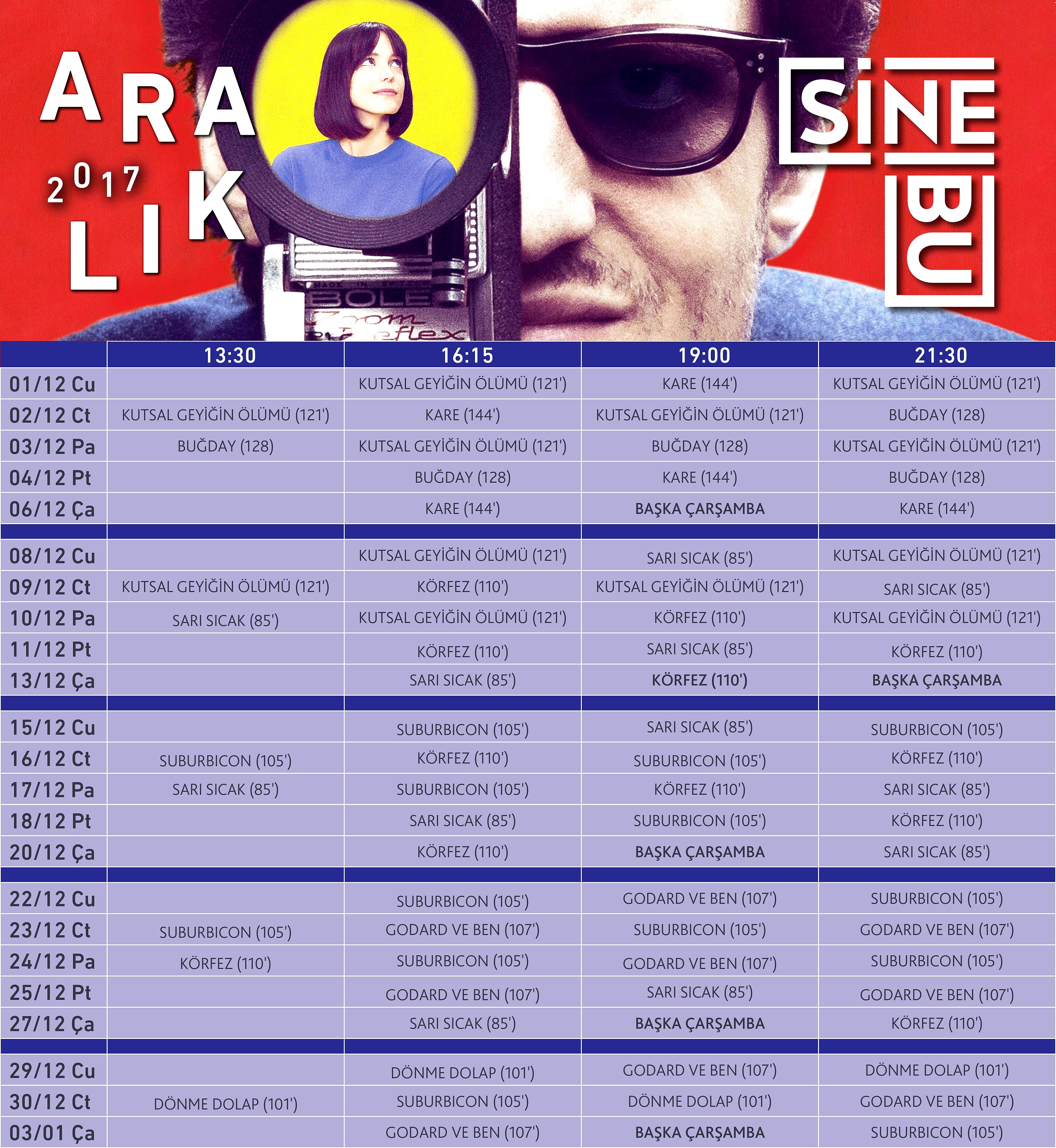 Boğaziçi Üniversitesi'nin sinema salonu SineBU'da Aralık ayında Türkiye sinemasından üç, dünya sinemasından beş film ile gösterimlerine hız kesmeden devam ediyor.
