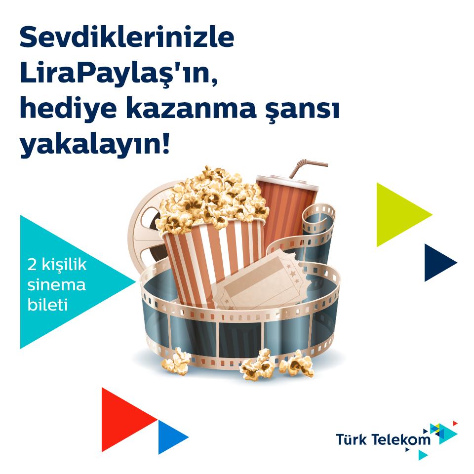 """Türk Telekom'un, aboneler arası lira talep etme ve paylaşılan liraları anında cebe yükleme imkânı sunan """"LiraPaylaş"""" servisi, şimdi de kullanıcılarına sinema keyfi yaşatıyor."""